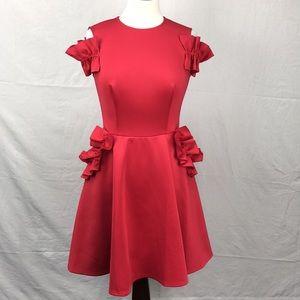 Ted Baker Red Deneese Ruffle Detail Midi Dress
